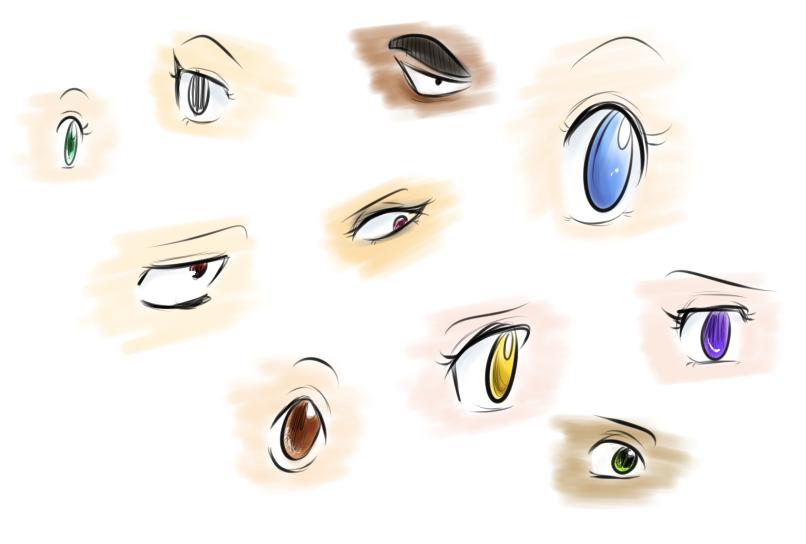 Anime Ögon (med färg)