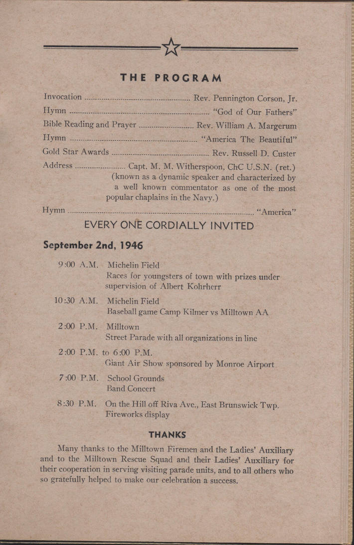 Milltown's 1946 WWII Welcome Home Celebration