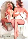 pinup woman in mirror