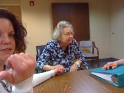 Mom at meeting at Westlake Healthcare Center