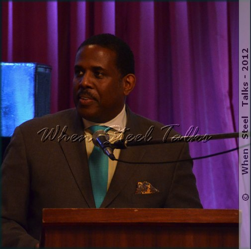 New York State Senator Kevin Parker addresses the audience at the Gala Tribute to New York Steel Band Pioneers