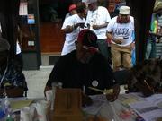 "Michael ""Scobie"" Joseph, at work judging J'ouvert pan, Labor Day, Brooklyn 2013"