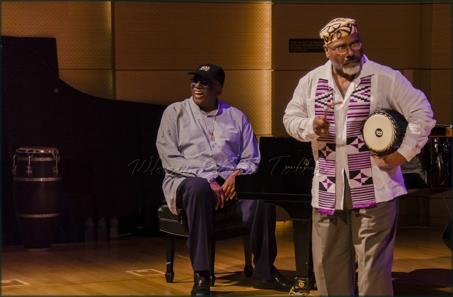 """Randy Weston (left) and Dr. Joseph Gaines (right) - """"Randy Weston presents Symposium in the Drum - From Africa to the New World"""""""