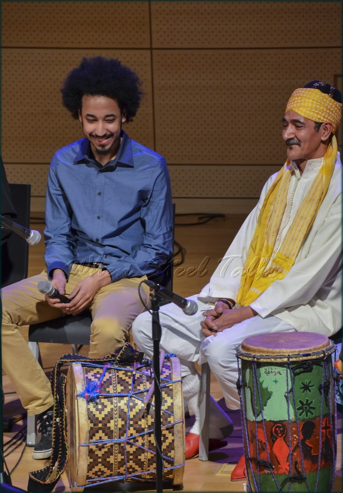 "Maalem Hassan Ben Jaafar (Morocco), at right - Gnawa percussion - from: ""Randy Weston presents Symposium in the Drum - From Africa to the New World"""