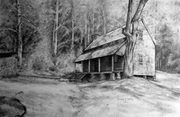 Becky P. Kelley Cabin in the Woods 1 in charcoal