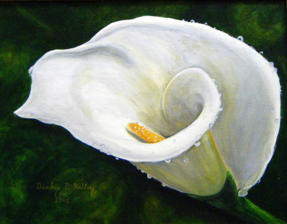 Becky P. Kelley- Single White Flower 2 in acrylic