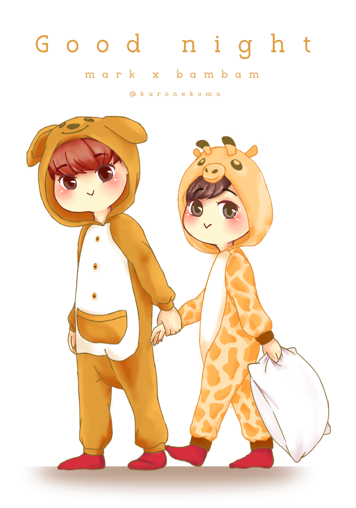 Mark and Bam in pajamas