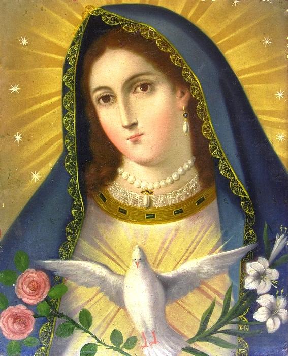 Une peinture mexicaine retable de la Vierge de la colombe, qui représente Marie comme l'épouse de l'Esprit Saint  -  Mexique