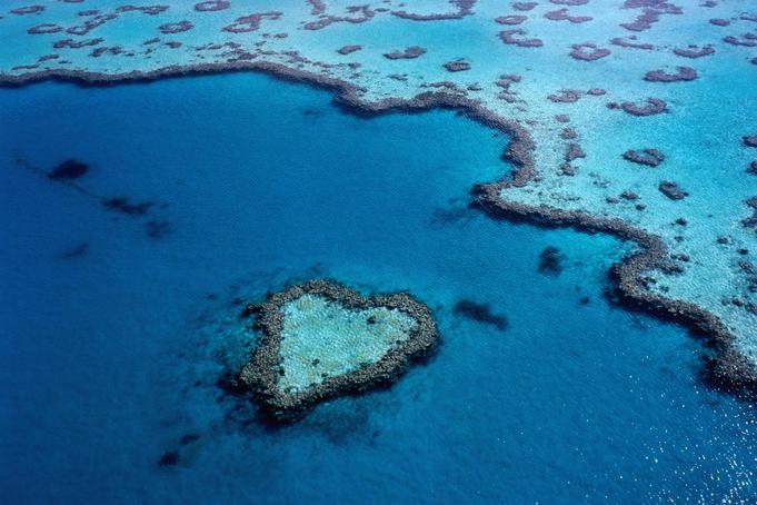 Heart shaped reef near the Whitsunday Islands