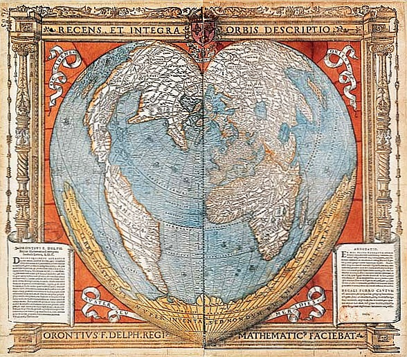 Heart shaped map of the world