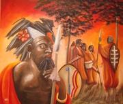 Guerriers Africains Huile 70cmX60cm
