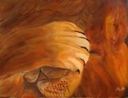 cache cache du lion 40 cm x 30 cm