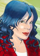 Femme aux cheveux bleus