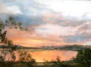 Reflets d'un soir flamboyant sur la Loire