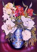 Les paéonias blanches au vase bleu calligraphié