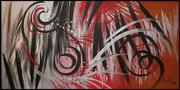 Abstraction Rouge, argent et noir