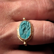 BAGUE OR TURQUOISE INTAILLE PEGASE IRAN