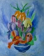 Flori in mic vas albastru,u.p 45x37,8