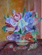 Flori in stil olandez,aquarela si pastel 32x40
