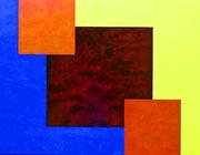 40  3 Carrés rouges- huile sur  toile  116x89 cm