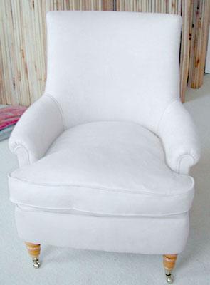 Armchair in Powder Blue velvet.
