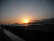 Anoitecer na praia de Santos