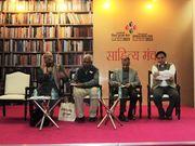 मंच पर बायें से मैं (सौरभ), आचार्य सलिलजी, डॉ. जगदीश व्योम, श्री ओमप्रकाश तिवाी