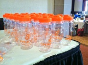 OA water bottles (representing green OA maybe?)
