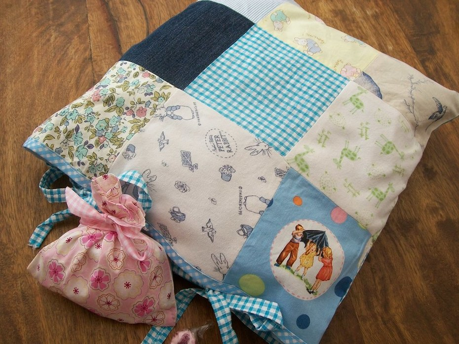 Cushion made with old pieces of fabrics