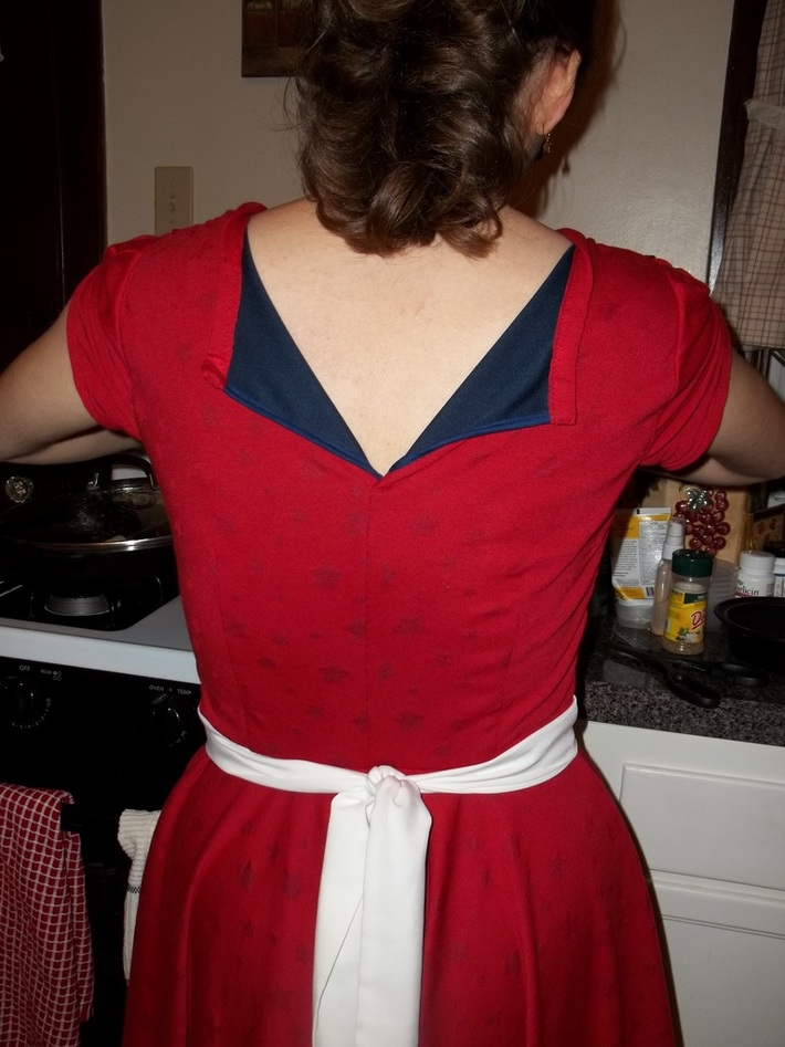 Star-Spangled Red Knit Dress - back view