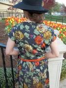 1946 Satin Gathered Bodice Dress -back view