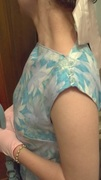 Border Print 50's Dress -shoulder close-up