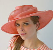 carol wearing pink lemonade by tonya gross millinery