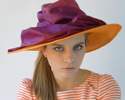 carol wearing liz by tonya gross millinery