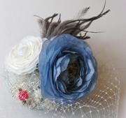 blue,bird,cocktail,hat,fascinator,veil,