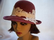 Mauve Pink Fedora with Lace