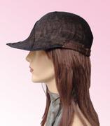 Black & brown summer cap, sinamay