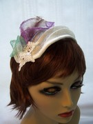 Ivory Cocktail Hat w Lavender Lily