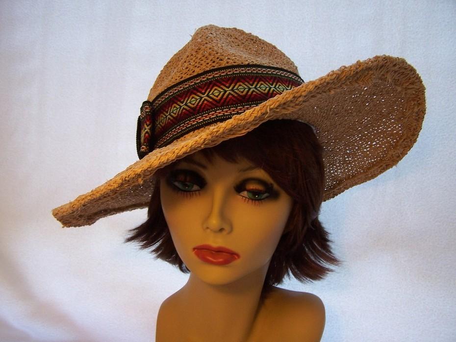 Jute Straw Hat w Millitary Crown