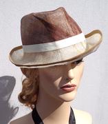 Brown and yellow panama summer hat