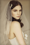 Sterling Silver Butterfly Boho Tiara with Silk Veil
