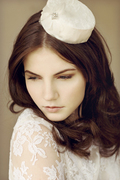 Small lace and silk pillbox hat.