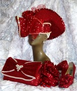 RED SUIT HAT CORSAGE PURSE SHOES
