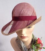 retro cloche hat pink sinamay 2