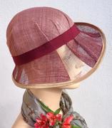 retro cloche hat pink sinamay 1