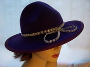 Purple Wool Felt Hat w/ Bling