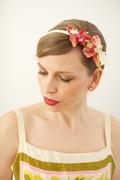 Tina Kite Millinery, Vintage Velvet Leaf and Flower Headband