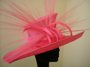 Pink egret feather hat