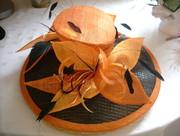 Orange/blk windowpane sinamay