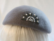 Vintage Style Gray Wool Beret